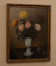 Beautiful Still Life of Red Pink Yellow Flowers & Little Ceramic Pot Painting