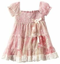 Rare Editions TODDLER Girls Lace Smocked Tiered Dress Pink Cream Vintage New 2T