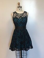 New Juno Women's Blue/Black Lace Short Dress with Tulle Lining and Satin Bow