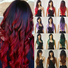 Green Red Black Purple Long Synthetic Hair Cosplay wig Women Girl Hair Full Wig