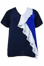 New Emily Simply Be Ladies Blue White Frilled Plus Size Top