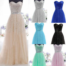 Long Tulle Sequins Sweetheart Bridesmaid Dress Party Evening Formal Prom Dresses