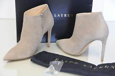 New RALPH LAUREN TASELLA Taupe Beige Suede Booties Ankle Boots 38