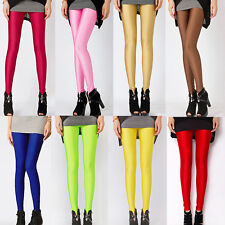 Fashion Women Leggings Neon Shiny Bright Candy Color Stretch Slim Pants Trousers
