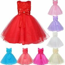 Flower Girl Kid Baby Toddler Princess Party Pageant Wedding Bridesmaid Bow Dress