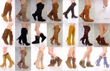 NEW LOT Black Brown Camel Tan Thigh High Platform Flats Boots Faux Leather 6 6.5