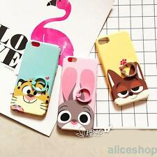 For iPhone 7 7 Plus 6 6S Cute Rabbit Tiger Fox Finger Rings Hard TPU Case Cover
