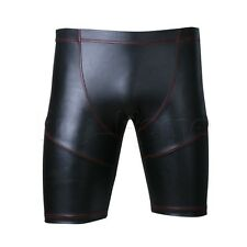 Mens Sexy Sports GYM Faux Leather Tights Shorts Workout Pants Trousers Underwear