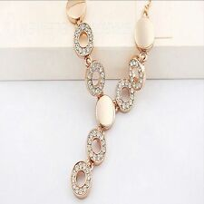 Women Fashion Jewelry Set Party Wedding 18K Gold Plated Necklace Ring Earrings
