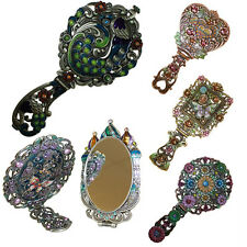 Large Ornate Dressing Table Hand Mirror - Folding Handle/Stand Retro Vintage