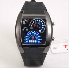 RPM Turbo Blue Flash LED Sports Car Meter Dial Watch men women Wristwatch black