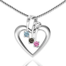 authentic sterling silver Triple Stone Heart Pendant Mixed Crystal charm Pendant