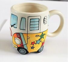 VW PSYCHEDELIC CAMPER VAN STYLE CERAMIC MUGS - NOVELTY GIFTS - BOXED