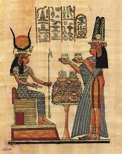 """Egyptian Papyrus Painting Queen Nefertary offers to Isis 7X9"""" + Hand Painted #54"""