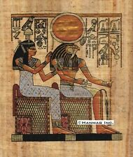 """Egyptian Papyrus Painting - Isis and Horus 8X12"""" + Hand Painted #68"""
