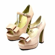 Nude Block Heel peep toe court shoes with bow