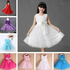 Lovely Girls Sleeveless Flower Bowknot Self Tie Ball Gown Party Princess Dress