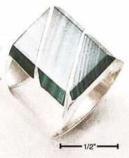 Sterling Silver Mens Malachite Rectangular striped Ring - Ring Size: 08 to 13