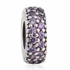 authentic 925 sterling silver Fancy Purple CZ Pave Big Hole Spacer Charm Bead
