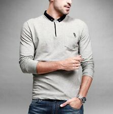 Mens Long Sleeve 100% Cotton Silky  Lapel Polo Casual T-shirt Gray M L XL XXL