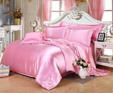 800 1000 1200 1500TC HOTEL PINK SATIN SILK SHEET SET BEDDING'S ALL SIZE