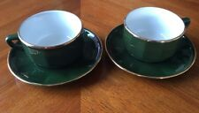 2 x Apilco Green Large Coffee Cups & Saucers