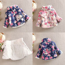 Kids Baby Girls Cotton Floral Coat Long Sleeve Jacket Warm Thick Outerwear 2-6Y