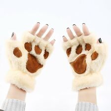 Cat'S Paws Woman Cute Plush Half Finger Gloves Half Covered Gloves Mittens EW