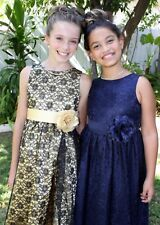 Floral Lace Overlay Flower girl dress Party Holiday Pageant Occasions 2 4 6 8 10
