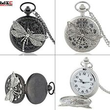 Retro Dragonfly Antique Pocket Watch Necklace Chain Gift Quartz Pendant Punk New