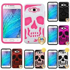 For Samsung Galaxy J7 Hybrid Skull Skeleton Impact Hard Soft Case Cover