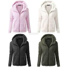 Fashion Women Warm Thicken Fleece Coat Zip Up Hooded Slim Parka Jacket Overcoat