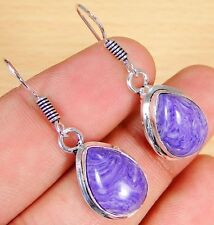 Lab Charoite & 925 Silver Handmade Stunning Earrings 35mm TG-10920