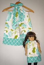 Matching girl and  doll dresses Teal Floral pillowcase dress handmade cotton