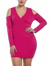 Meaneor Women's Plus Size Sexy Open Shoulder Party Dress