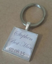 SILVER PLATED PERSONALISED THANK YOU GIFT KEYRING KEY RING ROLE BEST MAN GROOM