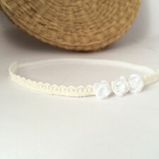 Lace baby hairband for baptism, skinny headband with white flowers handmade