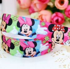 "GROSGRAIN RIBBON 7/8"" Minnie Mouse Smiles M8 PRINTED BULK 1,3,OR 5 Yds US Seller"