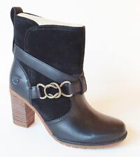 Timberland Womens Dennett Buckle Ankle Boots High Heel  A168O Black Retail $150