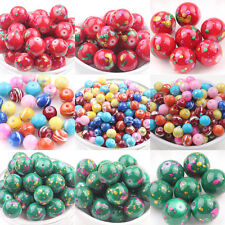 5/50Pcs Loose Spacer Bead Jewelry Accessories Glass Printed Free Shipping