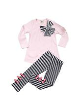 Girls Outfit Valentine's Day 2-Piece Trendy Pink Stripes Toddler NEW