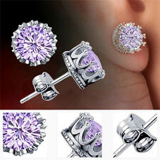 Classic Lady Gold Plated Crystal CZ Jewelry Crown Stud Earrings