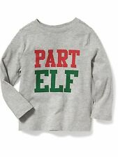 New OLD NAVY Boys Shirt Size 12 18 months 2T 3T 4T 5T PART ELF Holiday Tee Gray
