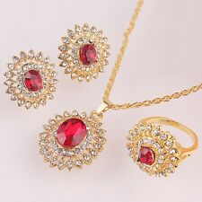 Gold Plated Austrian Crystal Sunflower Pendant Necklace Earring Ring Jewelry Set