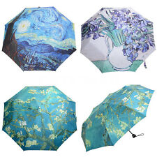 Van Gogh Oil Painting star Starry Night Anti-UV Parasol 3 Folding Umbrella