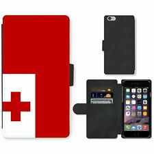 Phone Card Slot PU Leather Wallet Case For Apple iPhone tonga National Flag