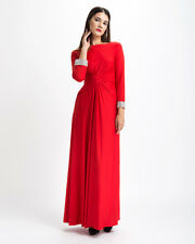 Red Formal Gown Evening Cocktail Long Sleeves Plus Size Custom Made Crystal Cuff