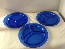 Depression Glass Cobalt Blue Divided Luncheon Plates - Set of 3 - 9 inch