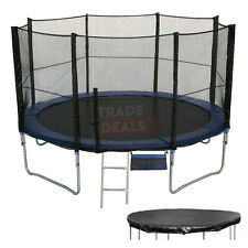 6 8 10 12 14 16 FT Foot Trampoline + Safety Net/Enclosure, Rain Cover & Ladder