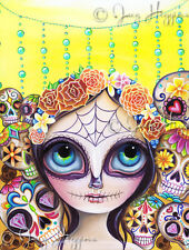 "Art Print ""Sugar Skull Princess"" Day of the Dead Girl Mexican Painting Big Eye"